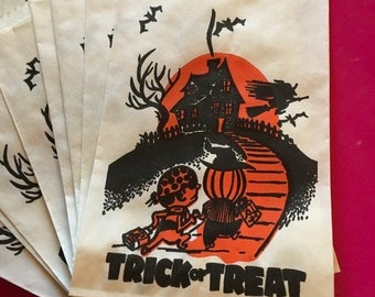 Vintage Mid-Century Halloween Treat Bags (approximately 20)