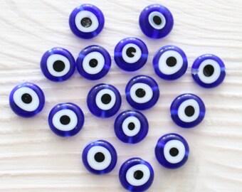 12pc-10mm tiny evil eye beads, flat glass beads, lamp work beads, navy blue, blue evil eye, glass beads, handmade, round glass beads, DIY