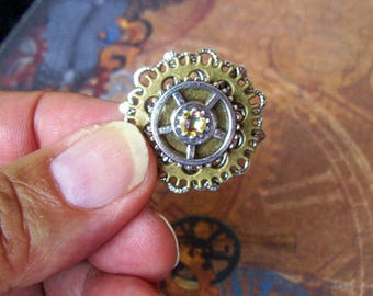 Steampunk Tie Tack (TT705) Silver Plated and Antiqued Bronze, Gears, Swarovski Crystal, Tie Tack