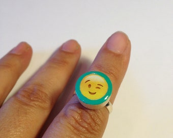 Emoji Ring,Mood Rings,Smily Face,Handmade Painted little Wood Dots,