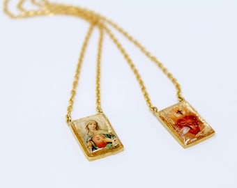 medals necklace set religious scapular hmh sterling silver