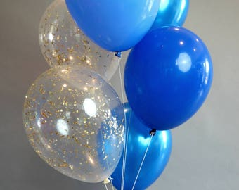 Blue Balloon Bouquet with confetti balloons | Set of 6 balloons