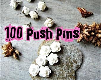 FLOWER PUSH PINS 100 Decorative Thumbtacks Wedding Boards Rose Bud White Pink Pin Thumb Tack Message Boards Office Cubicle Decor Cork Board