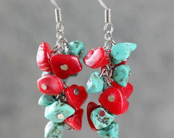 925 Silver and turquoise and coral cluster hook earrings