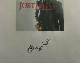 Justified Signed TV Script Screenplay Pilot Autograph Signature reprint Timothy Olyphant