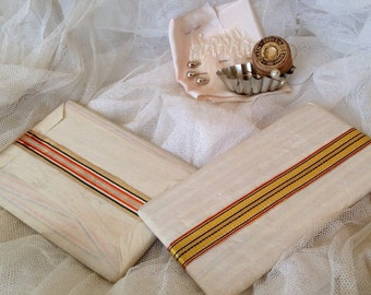 Vintage Art Deco Silk Tape/ Golden or Silver Stripes Ribbon, Vintage Period Costume Millinery & Style 2yd Sewing Supplies