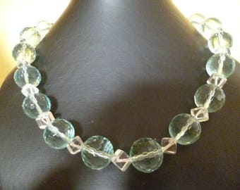 BO 012 extra rock crystal and faceted Blue Topaz necklace