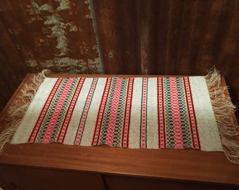 Hand woven table runner in wool and linen