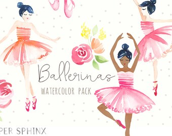 Watercolor Ballerina Clipart   Dance and Ballet Shoes Clip Art - Floral Ballerinas - Multiple Skintones - Instant Download Digital PNG Files