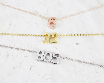 Gold / Silver / Rose gold Number Necklace Tiny Charm Necklace Bridesmaid Necklace
