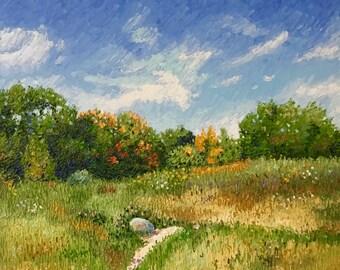 Original Impressionist style Impasto oil painting 16x20 'Last Wildflowers'