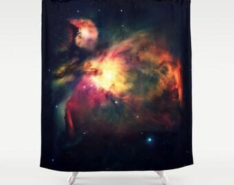 Galaxy Shower Curtain, Orion Nebula, Hauntingly Beautiful, Shower Curtain, Bathroom Decor, Home Decor, Colorful Galaxy, Masculine Dark Color