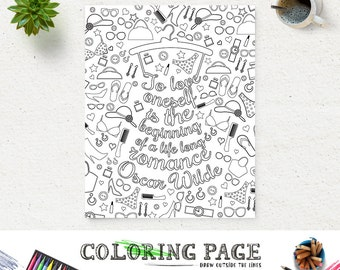 Coloring Page Oscar Wilde Printable Quote Instant Download Art Print Zen Printable Adult Coloring Pages Anti Stress Art Therapy Digital Art