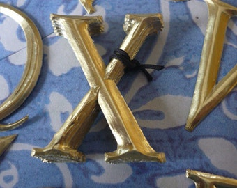 """10 Gold Dresden Letters ~ X (1 1/2"""" tall)"""