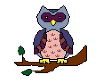 Owl Cross Stitch Pattern - Pink and Purple Easy CrossStitch PDF