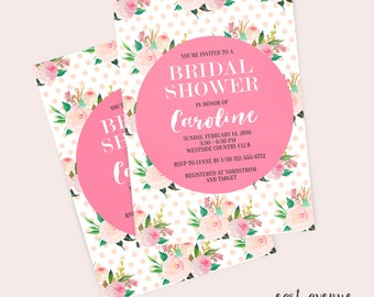 Printable Shower Invitation, Bridal Shower Invitation, Pretty Invitation, Baby Shower Invitation, Floral Invitation