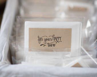 For Your Happy Tears - hand lettered rubber stamp - wedding stamp - wedding calligraphy stamp - wedding program - wedding favor K0048