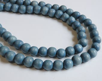 Light Steel Blue wood beads round 10mm full strand eco-friendly Cheesewood 1597NB