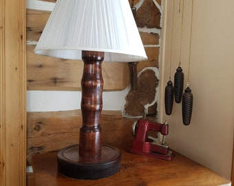 Handmade Wood Lamp, Turned, Rustic, Modern, Cottage, Country, Desk, Table, Home Decor