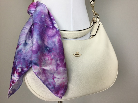 "20"" Purse Scarf or Luggage Identifer, 100% Silk Satin,  Ice Dye Tie Dye Blue Purple Pinks Purse Scarves #205"