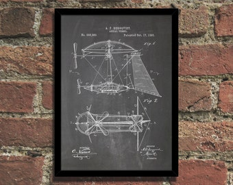 Steampunk Airship Patent Print Industrial Wall Art Poster
