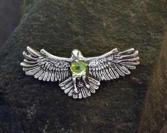 Sterling Silver Hawk Brooch with Fine Peridot