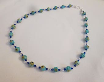 Sky Blue, Yellow, and Cobalt Blue Millefiori and Czech Glass Wire Link Necklace
