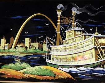 Ashbrook Studios Signed Original Lighted St Louis Skyline Riverboat Arch