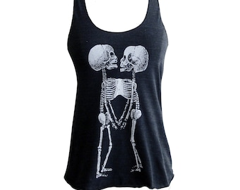 Skeleton Tank Top -  Skeletal Siamese Twins printed on a Tri-Blend Tank - Available in sizes S, M, L, XL