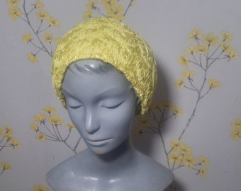 Vintage 1960s Sunshine Yellow Hat Yellow Woven Hat Jacoll Hat Pool Party Summer Hat