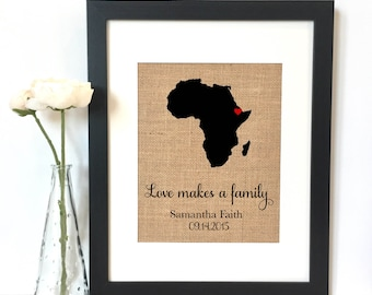 Love makes a family Personalized Map Burlap Print // adoption // personalized adoption gift