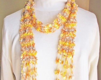 Hand Knit Scarf Peach, Yellow & Silver Gray Long Skinny Fringe