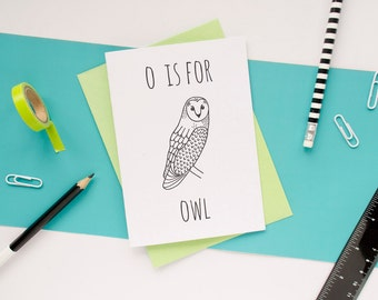 Owl Card / Animal Alphabet Card / Animal Alphabet / Blank Greeting Card / Notecard / Animal Card / Snowy Owl / Barn Owl Birthday Card
