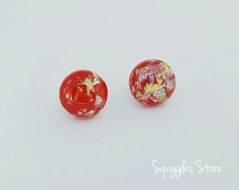 Sale! Red Gold Foil Holographic Resin Hypoallergenic Stud Earrings Titanium Posts