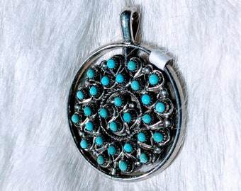 Two Sided Sterling Silver Round Turquoise and Coral Pendant