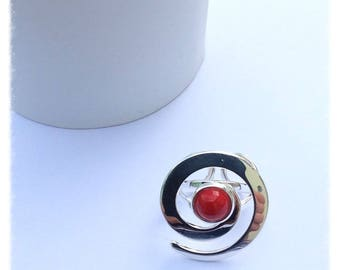 No. 339 - Ring silver plated metal and Red cabochon.