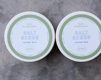 TWO Coconut Milk Salt Scrub || handmade salt scrub / dead sea salt / sweet almond oil / exfoliating / moisturizing / Charleston / coconut