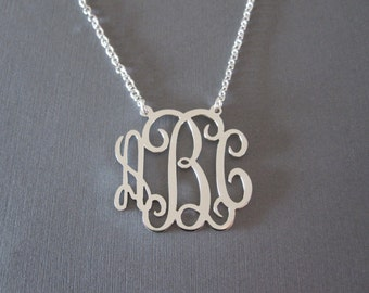 Personalized White Gold Monogram Necklace - 3 Pendant Sizes - Monogram Jewelry - Initial Necklace - Monogrammed Gifts - Custom Necklace