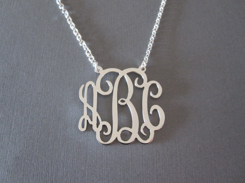 Personalized white gold monogram necklace 3 pendant sizes zoom aloadofball Gallery