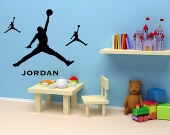 Michael Jordan 3 Pieces Silhouette With Custom Name Wall Decal Basketball  Wall Art Decals AS #