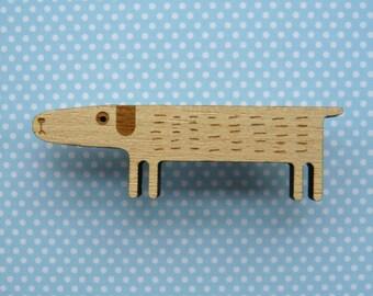 Wooden Dog Brooch