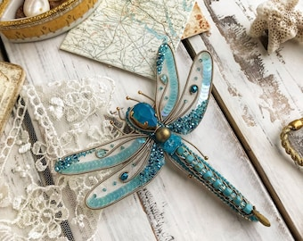 Dragonfly brooch, Insect brooch, aquamarine brooch, embroidered jewelry, Swarovski brooch, vintage dragonfly, sequins brooch, beaded brooch