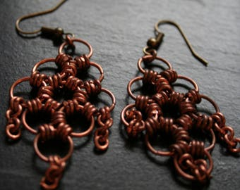 Copper chainmail earrings