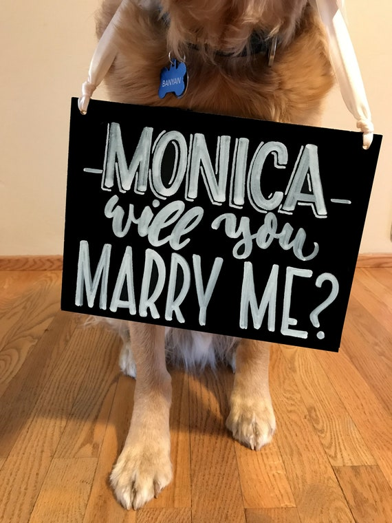 """CUSTOM """"(NAME) Will You Marry Me?"""" Engagement Sign, Chalkboard, Engagement Chalkboard, Dog Sign, Wedding Sign, Custom Chalkboard, Photo Prop"""
