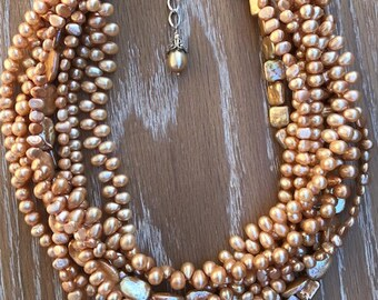 EXCEPTIONAL Multi-strand CHAMPAGNE Freshwater PEARL Adjustable Necklace
