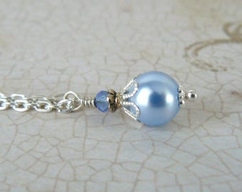 Pale Blue Pearl Pendant, Light Blue Pearl and Crystal Necklace, Light Blue Crystal Pearl, Vintage Style Wedding Jewelry, Swarovski Elements