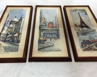 Set of 3 Vintage Mid Century Parisian Prints By Ortiz Alfau and Ducollet, Featuring the Eiffel Tower and Moulin Rouge