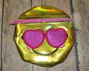 Yellow Heart Eye Zipper Bag, Zipper Bag, Bag, Coin Purse, Treasure Zipper Bag, Embroidered Zipper Bag, Zipper Pouch