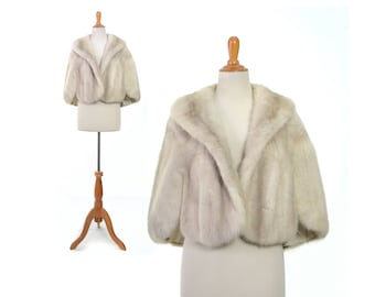 Wedding fur, White mink shrug, white fur coat, wedding coat, mink cape, bridal fur, real fur shrug, vintage clothing