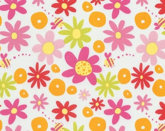 Daisy - Pink - Pandas by David Walker from Free Spirit - Floral Fabrics - Fabric by the Yard - David Walker Fabrics - Daisy Fabrics - Cotton
